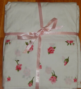 VINTAGE LADY PEPPERELL PINK ROSES TWIN FLAT SHEET 100% COMBED COTTON 72X108
