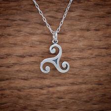 925 Sterling Silver Celtic Triskelion Triskele Charm Pendant FREE Cable Chain