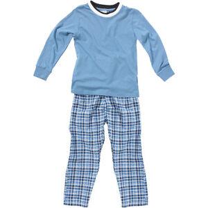 83d602f412 Bedlam Boys Long Sleeve Check Bottom Pyjamas Round Neck Blue Black 2 ...