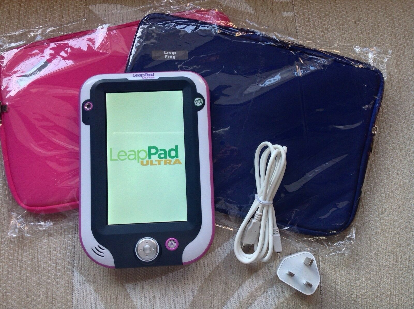 Leapfrog Leappad Ultra purple New Storage Bag bluee Or Pink charger Cable..