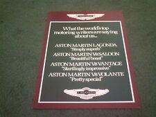 1984 1985 ASTON MARTIN PRESS COMMENTS V8 VANTAGE VOLANTE LAGONDA - UK BROCHURE