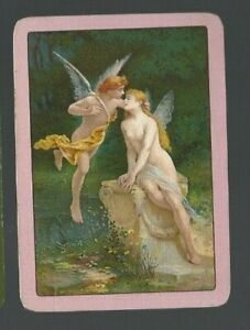 Swap-Playing-Cards-1-WIDE-VINT-ENG-EXQUISITE-FAIRIES-EMBRACING-WATER-EW138
