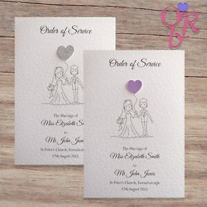 Wedding Order Of Service.Details About 10 Wedding Order Of Service Covers Glitter Hearts Free Postage