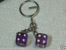 Dice Keychain Key Fob (#137) purple (also have in othe colors)
