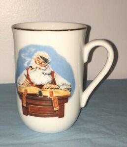 Norman Rockwell 1985 Santa Checking His List Coffee Cup Mug Gold Rimmed Ebay