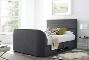 Marvelous Details About Annecy Slate Grey Fabric King Size Ottoman Media Tv Bed Holds Up To A 43 Tv Andrewgaddart Wooden Chair Designs For Living Room Andrewgaddartcom