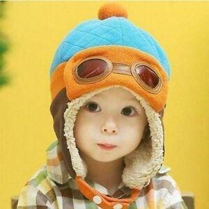 b86eb0fd16 Boys Pilot Cap Cool Fashion Kids Baby Toddler Hat Warm Winter Beanie ...