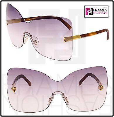 951c440cb87d Fendi 5273 Shield Violet Gradient Havana Oversized Rimless Sunglasses Fs5273