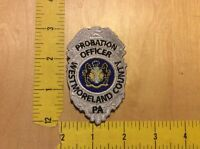Westmoreland County, Pa Probation Officer Patch On Hook Backing, (item 1148)