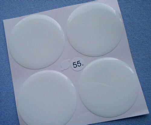 4x blanco emblemas para tapacubos llantas tapa 55mm silicona pegatinas Weiss 55w