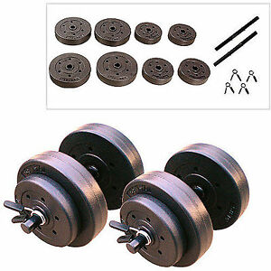 Vinyl Dumbbell Set 40 lbs Gym Fitness Workout Home Exercise Body Adjustable Arms