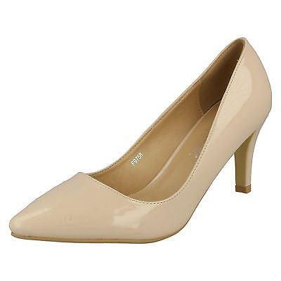 Anne Michelle F9758 Mujer Natural Charol Deslizable Liso Zapatos De Salón