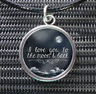 Black White I Love You To The Moon And Back Charm Pendant Leather -ette Necklace