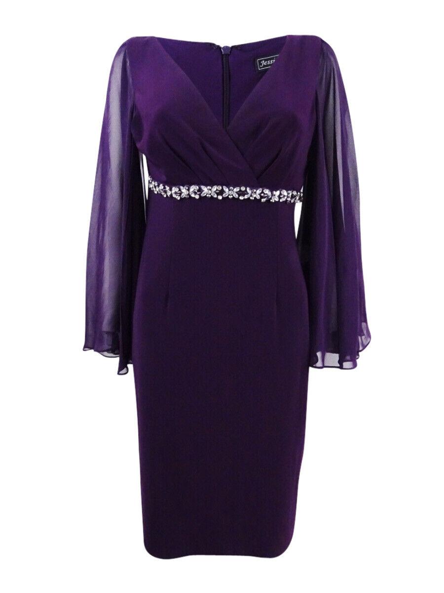 Jessica Howard Woherren Rhinestone Capelet Sheath Dress