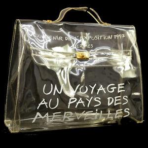 65d494ceb2ce Auth HERMES Vinyl Kelly Hand Beach Bag SOUVENIR DE L EXPOSITION 1997 ...