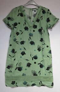Next-Linen-Blend-Shift-Dress-Green-Floral-Print-Summer-Print-Size-6-26