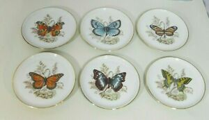 Vintage-Lindner-Porcelain-Round-Coasters-Pin-Dishes-Pats-Butterfly-Set-of-6
