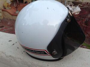 Vintage-HARLEY-DAVIDSON-HD-HELMET-Moto-Motorcycle-WHITE-w-Visor-size-MEDIUM