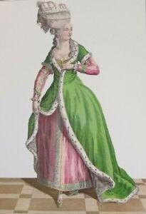 Art-Print-Rococo-Court-Dress-Ermine-Fashion-Plate-1779-Creole-Headdress-Pelisse