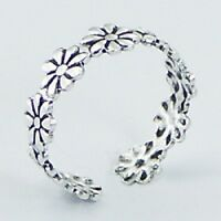 Toe ring 925 sterling silver daisy flower ring size adjustable 5mm wide new look