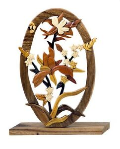 Details About Columbine Flower Bee Intarsia Wood Table Top Home Decor Figurine Lodge New