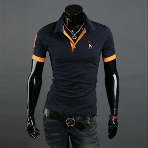 New-Mens-Stylish-Slim-Fit-Short-Sleeve-Casual-Polo-Shirts-T-shirt-Tee-Tops
