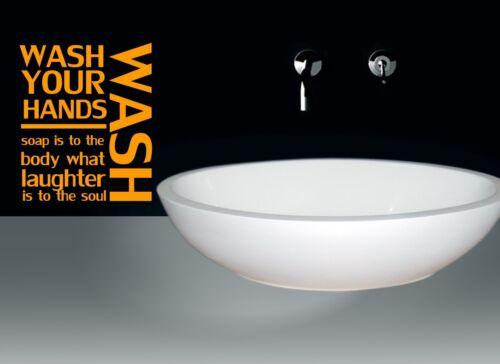 Se laver les mains. salle de bains WC Décoration Murale Citation Vinyl Autocollant Decal pochoir Graphique