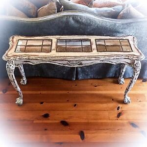 Image Is Loading Large Antique Entryway Table Distressed White Shabby Chic