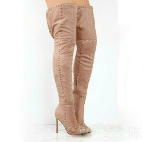 Super High Heel Women/'s Shoes Pointed Studded Rivets Over Knee Thigh Boots Party