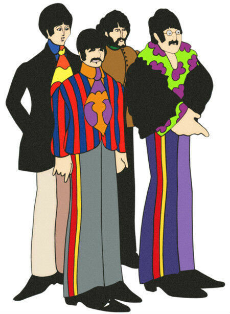 The BEATLES YELLOW SUBMARINE Animated Film Group WindoCling Decal Sticker - NEW