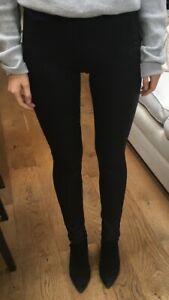 Black Matt Look Leather Leggings.soft Touch Slit Pocket Detail Great Comfort Fit