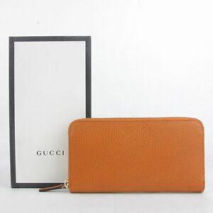 ff28886d5715ca Gucci Women's Dark Orange Leather Long/Continental Zip Around Wallet ...