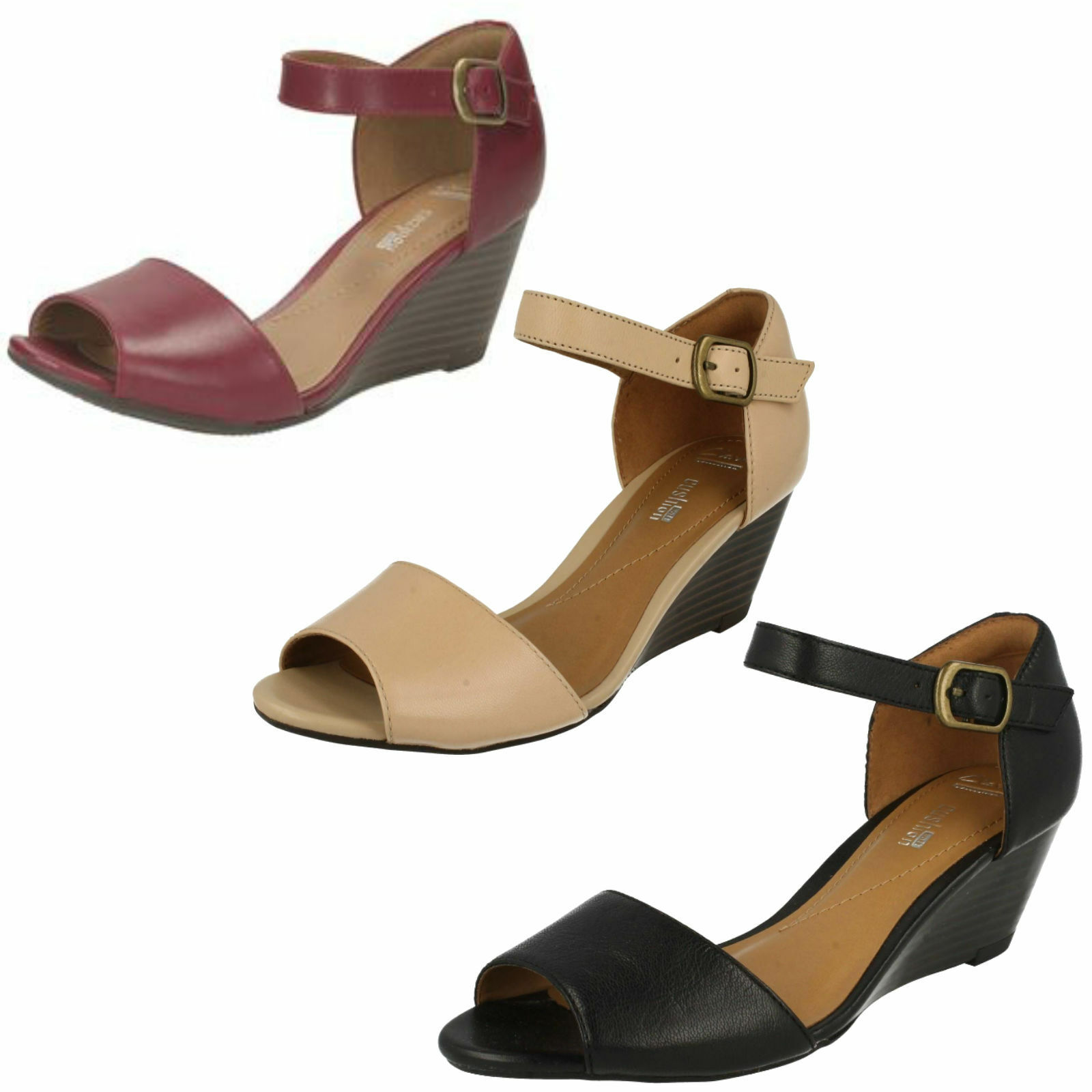 Ladies Clarks Smart Sandals Wedge Heel Brielle Drive Black or Cherry or Nude