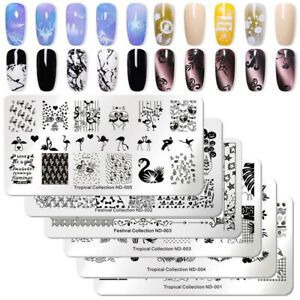 NICOLE-DIARY-Nail-Art-Stamping-Plates-Fantastic-Tropical-Geometry-Image-Plate