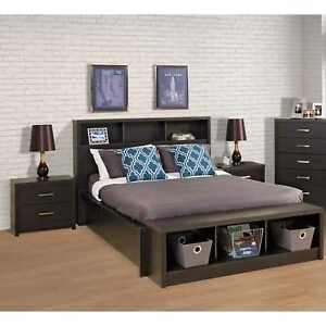 Charmant Image Is Loading Queen Size Upholstered Bookcase Headboard Storage  Bedroom Wood