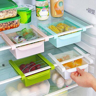 Slide Fridge Freezer Space Saver Organization Storage Rack Shelf Holder Kitchen
