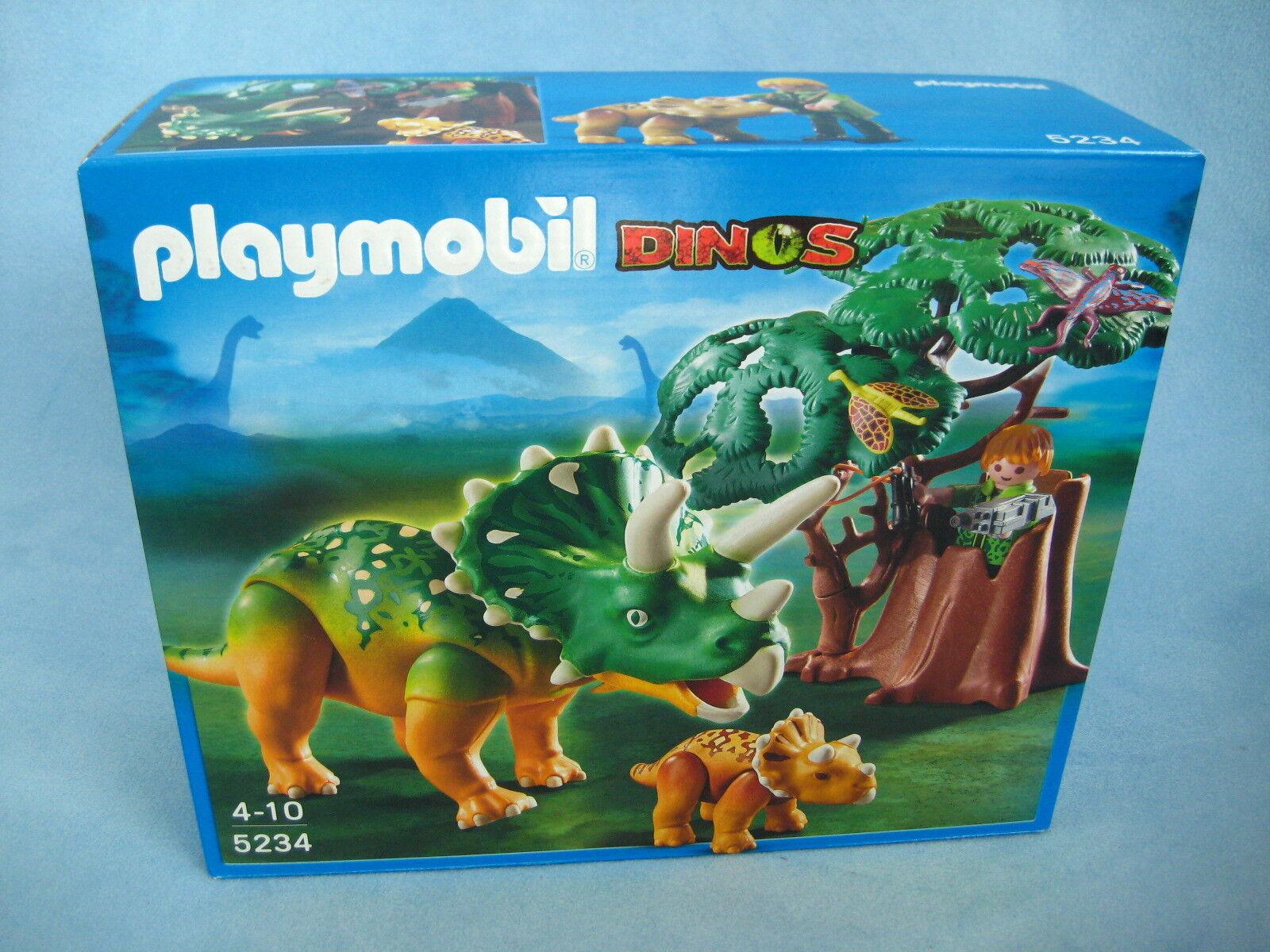 Playmobil Dinosaurier Dinos Set 5234 Triceratops mit Baby + Forscher neu + ovp