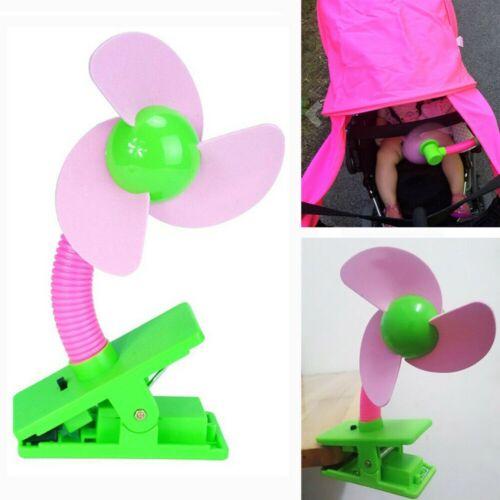 Portable Clip On Pushchair Buggy Pram Fan Battery Operate Crib Stroller Fan Pink