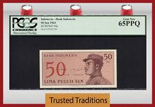 "TT PK 94a 1964 INDONESIA 50 SEN ""INDONESIA BANK"" PCGS 65 PPQ GEM NEW POP FOUR!"