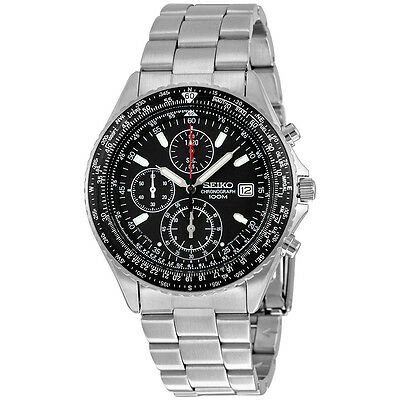 Seiko Chronograph Tachymeter Black Dial Stainless Steel Mens Watch SND253