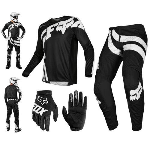 Fox 180 Cota Combo 2019 Nero Bianco MX Pantaloni Shirt Guanti