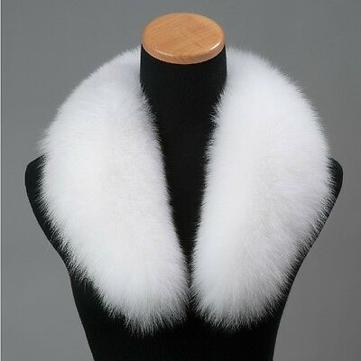 Brand New White Genuine Big Fox Fur Collar Scarf Wrap Shawl Neck Warmer Cape