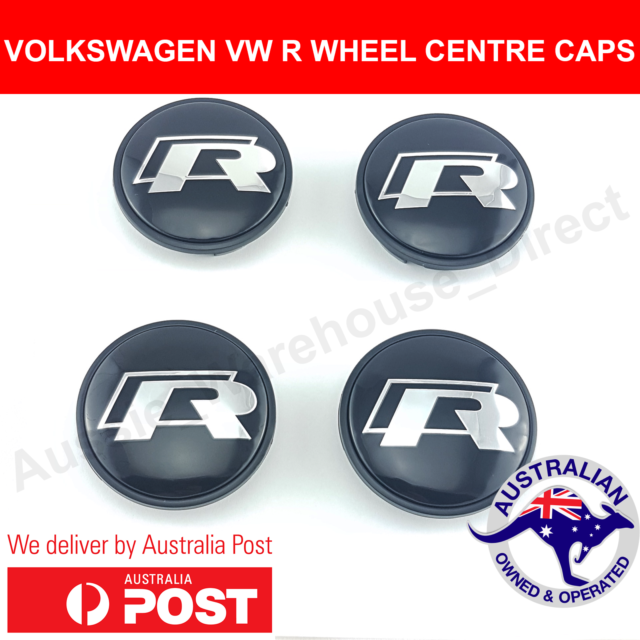 52a5117cd00 VW VOLKSWAGEN R WHEEL CENTRE CAPS 65mm PASSAT TIGUAN GOLF GTI EOS CENTER  HUBS X4