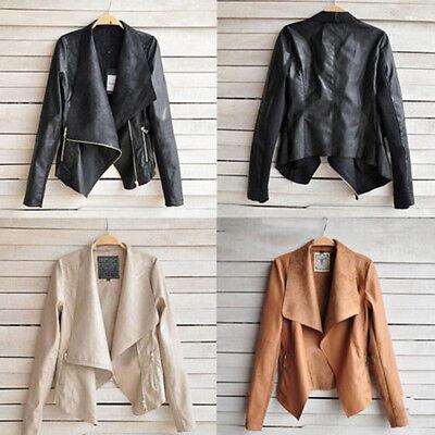 Womens Sexy PU Leather Long Sleeve Biker Motorcycle Jacket Coat Blazer Slim Tops