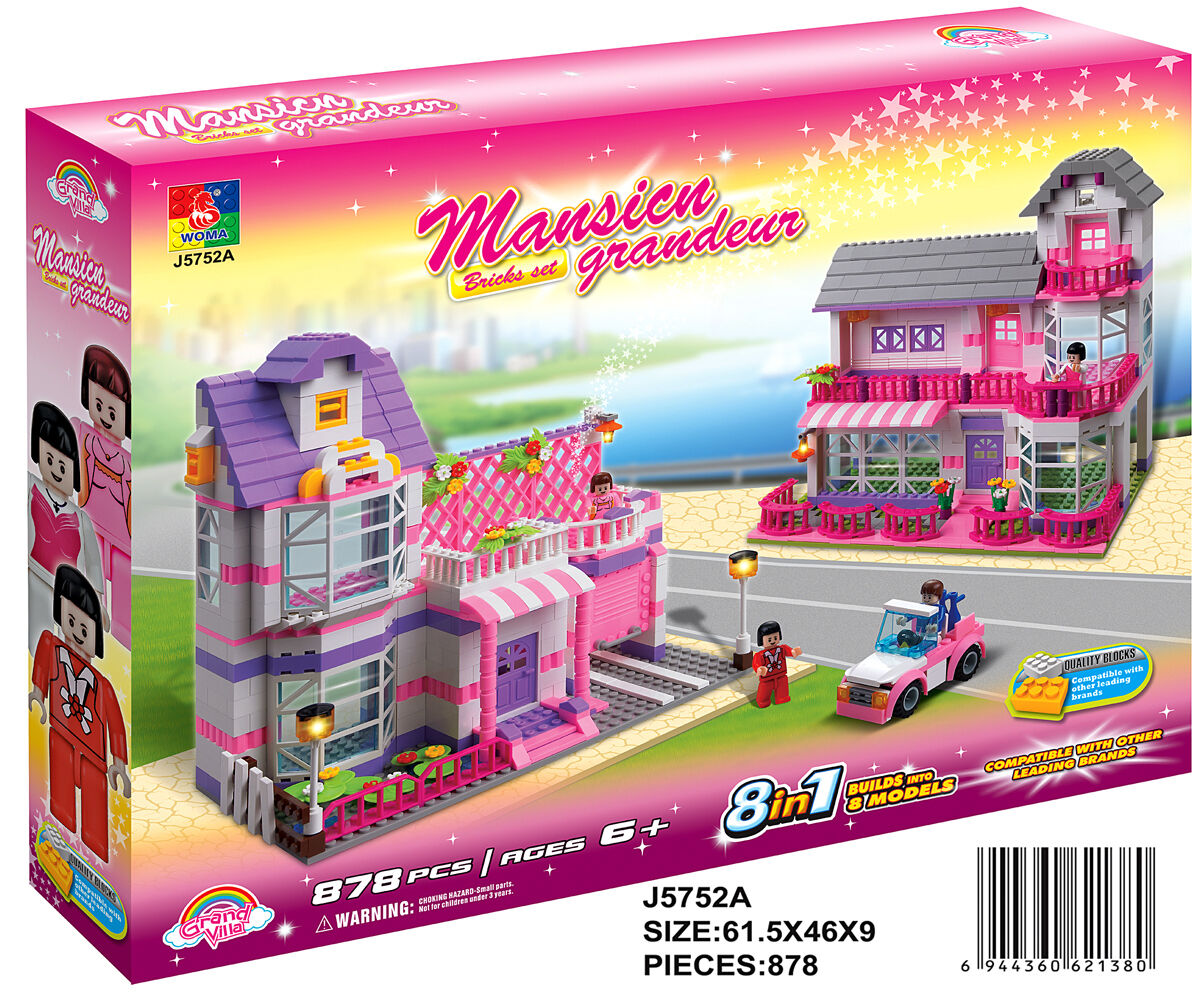 Woma Ferienhäuser u Auto für Mädchen 8 in 1 Bausteine Set 878 Teile J5752A