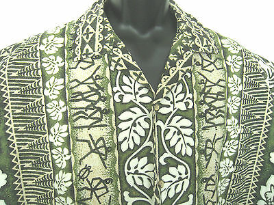 Hawaiian Shirt 2XL Cotton Petroglyphs Green Tan Hana Fashion