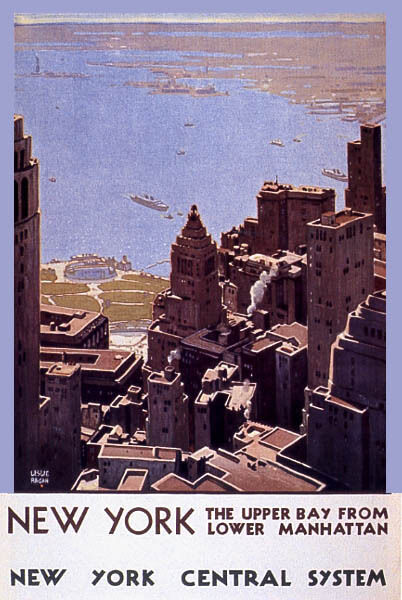 NEW YORK THE UPPER BAY FROM LOWER MANHATTAN TRAVEL USA VINTAGE POSTER REPRO