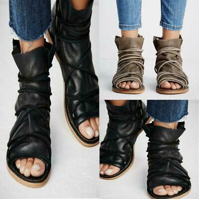 Womens Peep Toe Flat Sandals Ladies
