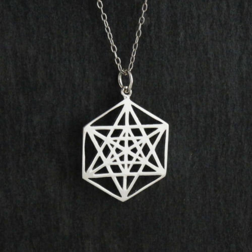Details about  /Sacred Geometry Star Charm Necklace 925 Sterling Silver Icosahedron Math Gift