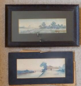 2-Old-original-watercolour-paintings-Landscape-Far-East-Rice-farm-River